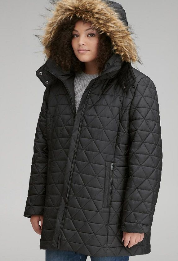 Plus Size Quilted Hooded Jackets For Women
