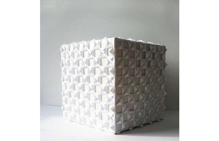 LOT 63 - VIRGINIA TOMA - White Days - Paper cube - 20 × 20 × 20 cm (7.9 × 7.9 × 7.9 inch) - Estimate €350 - €550 http://lavacow.com/current-auctions/lavacow-christmas-auction/white-days.html#sthash.WJIYaGl1.dpuf