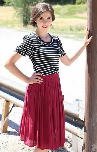 Modest Cute Teacher Clothing New Cotton Pleated Skirt in