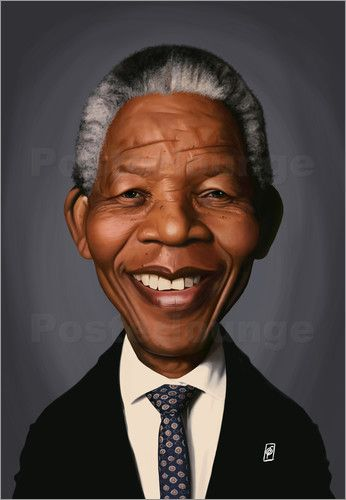 Rob Snow | caricatures - Nelson Mandela art | decor | wall art | inspiration | caricature | home decor | idea | humor | gifts