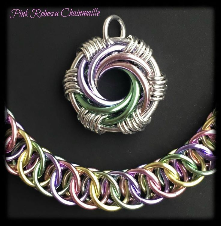 Spring Inspired Maillestrom pendent and a Half Persian bracelet. By Pink Rebecca Chainmaille