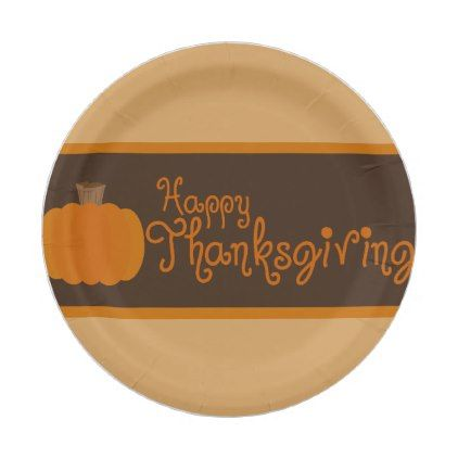 #Happy Thanksgiving Autumn Pumpkin Paper Plate - #ThanksgivingDay Thanksgiving Day #Thanksgiving #happy #family #dinners #turkey #chicken