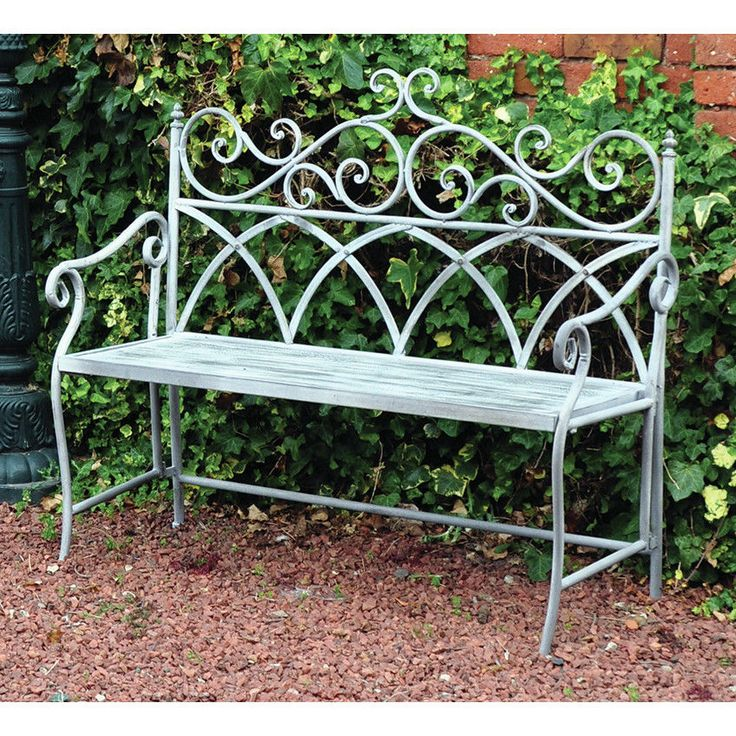 VINTAGE WROUGHT IRON BENCH Garden Patio Outdoor Seat Chair Metal Frame  Furniture
