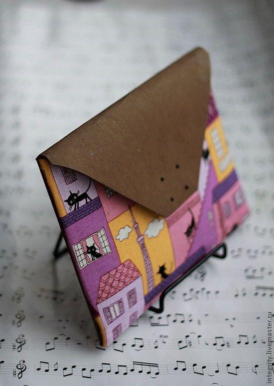 """Купить Клатч-конверт из моющегося крафт-материала """"Питерские коты"""" - рисунок, клатч-конверт, клатч"""