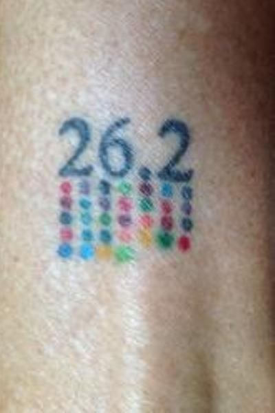 """I got this after my 26th marathon, and now up to 32, I add a dot with each additional one completed"" REALLY neat idea for many different things, not just running! :)"