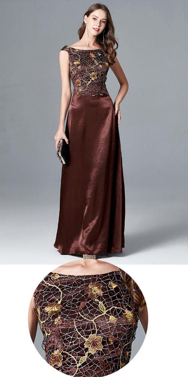 99e52801eb In Stock Formal Lace   Satin Bateau Neckline A-line Evening Dress ...