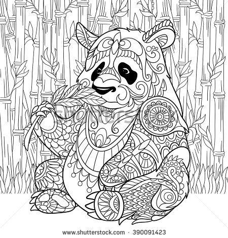 Zentangle Stylized Cartoon Panda Sitting Among Bamboo