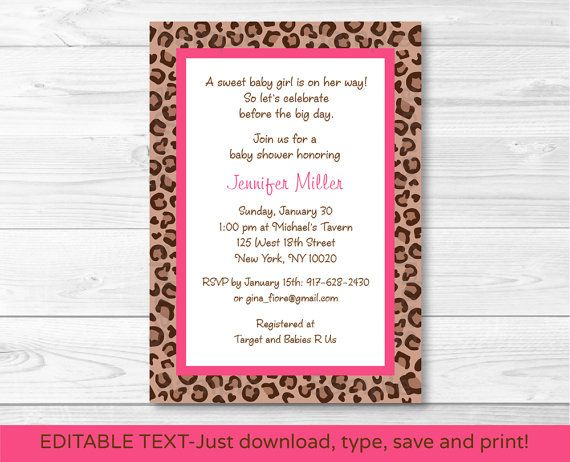 Pink Cheetah Baby Shower Invitation / Cheetah Baby Shower Invite / Animal Print / Pink & Tan / INSTANT DOWNLOAD Editable PDF A240
