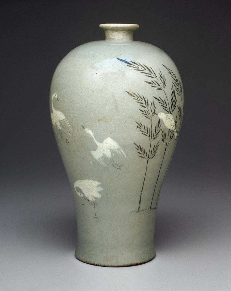 Prunus Vase with Inlaid Bamboo & Cranes - 청자상감죽조문매병, 靑瓷象嵌竹鳥文梅甁 - Korean, Goryeo Dynasty, early 13th century. Stoneware with celadon glaze. #celadon #glaze #pottery #Korea #Korean #green