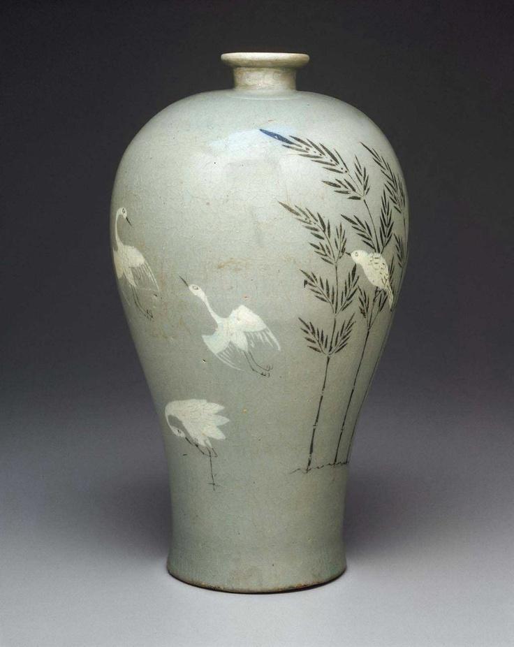 Prunus Vase with Inlaid Bamboo & Cranes - 청자상감죽조문매병, 靑瓷象嵌竹鳥文梅甁 - Korean, Goryeo Dynasty, early 13th century. Stoneware with celadon glaze. #celadon #glaze #pottery #Korea #Korean #green