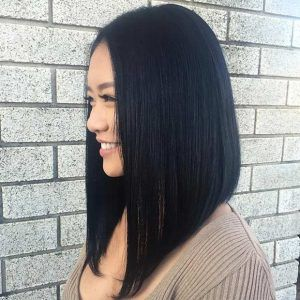 Straight Long Angled Lob Haircut