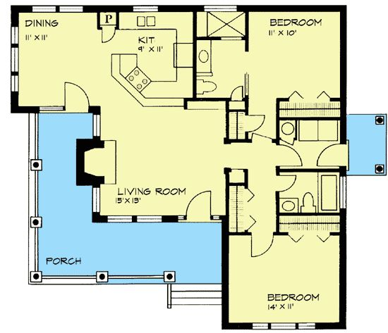 The two in law suite and 2 bedroom house plans on pinterest for In law suite floor plans