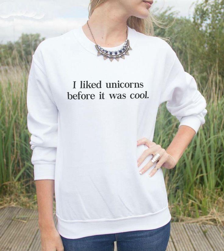 Unicorn Slogan Ladies Sweatshirt by LoveFeNiks on Etsy