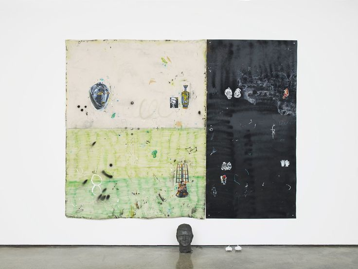 Between philosophy and crime, part 3 acrylic, spray paint, brick pigment, pencil and pen on canvas and iron plate, with metal objects 200 x 255 cm 2016