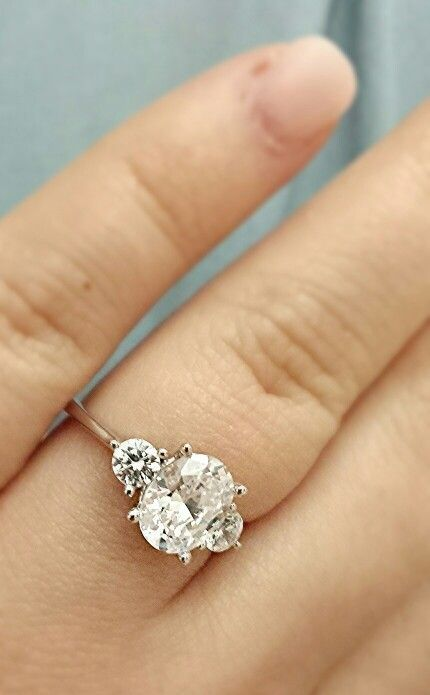 My oval cut three stone engagement ring someone pinch me!!! ♡♡