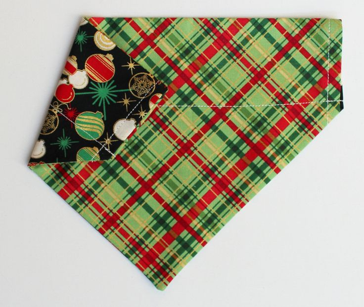 Christmas Ornaments & Plaid Bandana Slip-On, Over The Collar Bandana, Reversible Bandana, Cat Bandana, Dog Gift, Dog Bandana Holiday Bandana by RottenMuttDesigns on Etsy