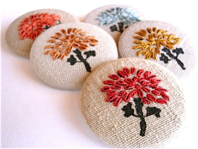 Hand Embroidered Fabric Brooch.