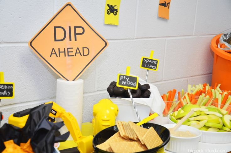 construction party food sign