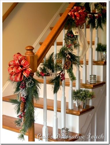 17 best ideas about christmas staircase on pinterest for How to decorate a banister
