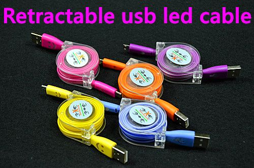 retractable usb cable with led