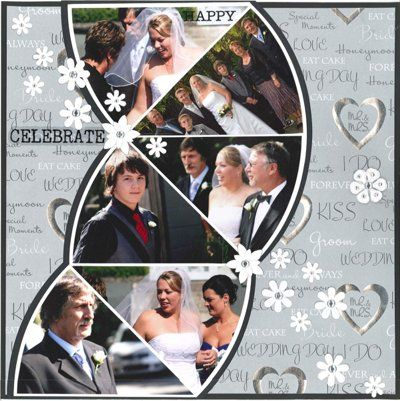 Fun: Layout Ideas, Photo Layout, Wedding Scrapbook Pages, Pattern, Scrapbook Pages Layout, Scrapbook Layout Wedding Ideas, Wedding Wedges, Prom Scrapbook Ideas Layout, Cards Make
