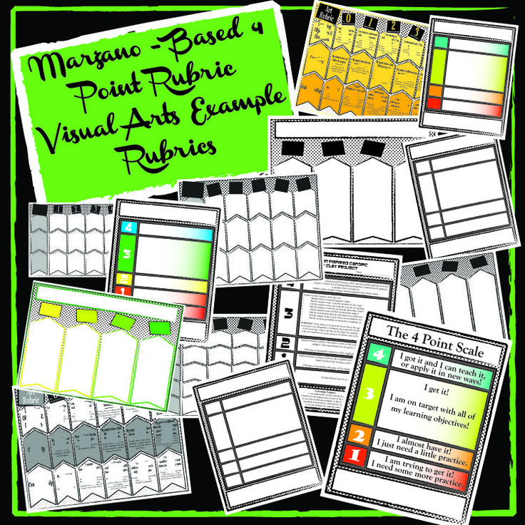 Art Room 4 Point Rubrics!!!!  GREAT visual arts Marzano- based rubrics. K-12 rubrics. 2 different versions. Example rubrics ready-to-go and blank templates.