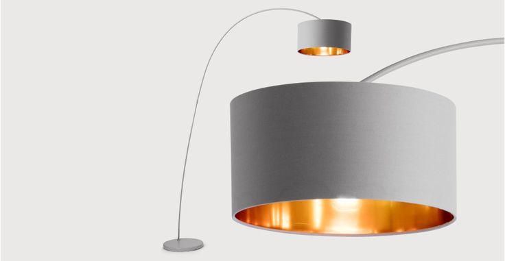 Sweep Floor Lamp, Matt Grey with Copper | made.com