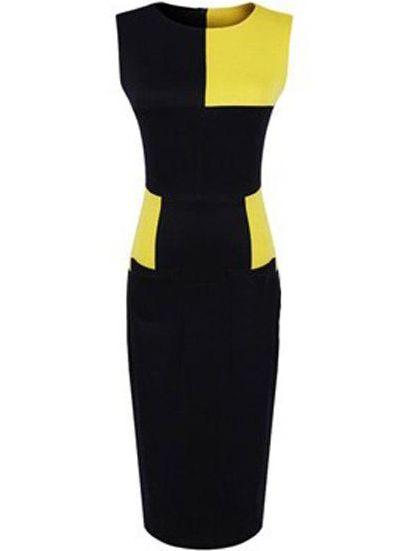 Vestido contraste negro-amarillo-Spanish SheIn(Sheinside)