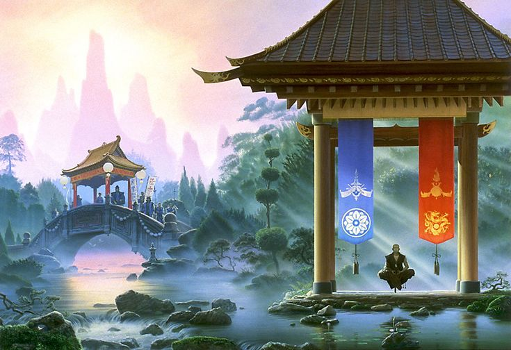 For his novel THE INITIATE BROTHER, the author Sean Russell drew on both Chinese and Japanese lore for his oriental fantasy theme, so Michael reflects that in the symbols on the red and blue banners. A favorite image with Martial Arts enthusiasts.
