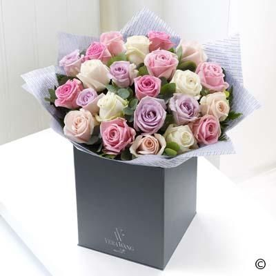 There is something wonderful about the mixture of colours in this stunning Vera Wang bouquet. The selection of premium roses features varieties in sweet shades of pale pink, soft cream, candy pink and delicate lavender, creating a very calming and incredibly beautiful gift.