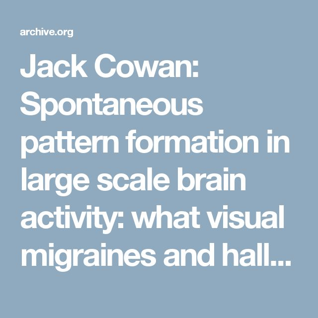 Jack Cowan: Spontaneous pattern formation in large scale brain activity: what visual migraines and hallucinations tell us about the brain : Redwood Center for Theoretical Neuroscience : Free Download & Streaming : Internet Archive