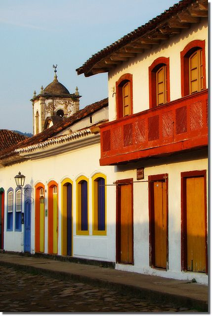 Colorful doorways and cobblestone streets of Paraty, Brazil