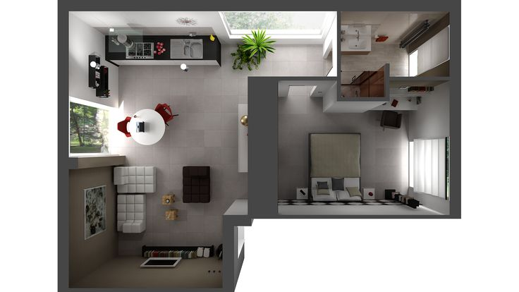 Top view rendered with DomuS3D 2016 and mental ray