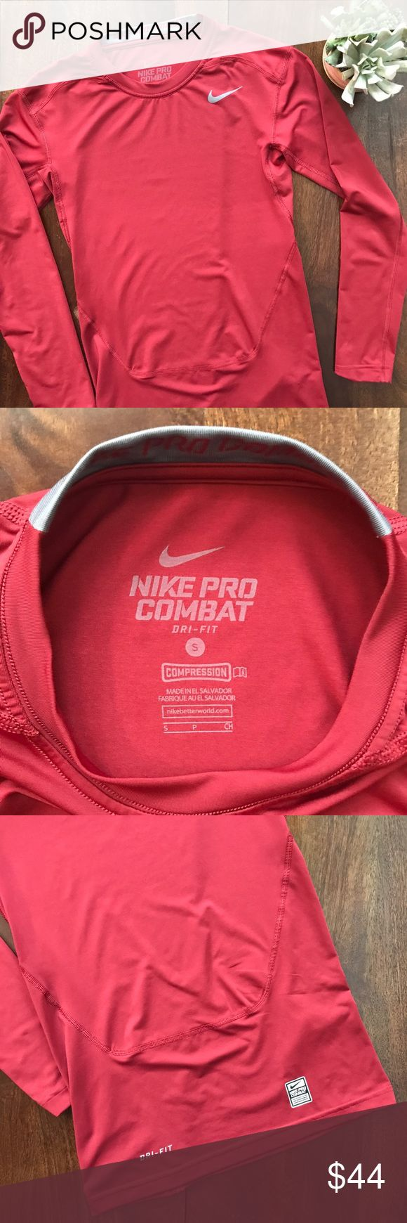 Nike • pro combat compression long sleeve Nike • pro combat • compression • dark red • breathable mesh in underarm area • dri-fit • excellent condition • all measurements were taken flat and are approximate: pit to pit 14.5"