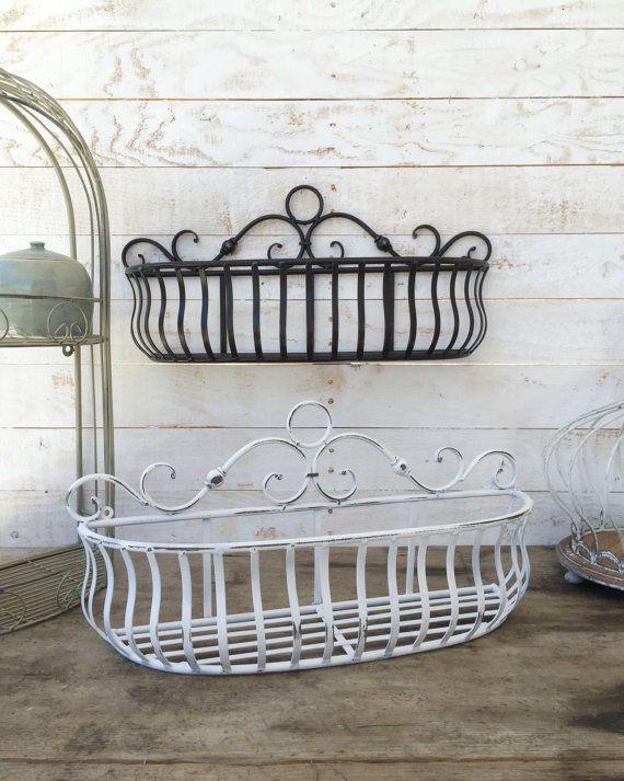 Metal Wall Basket Kitchen Home Decor Distressed Black Fruit Plant Holder Zinc Farmhouse Hanging Gift For Mom Bathroom