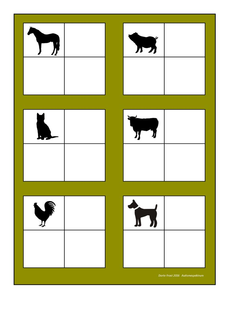 Board for the farm animal sorting game. Find the belonging tiles on Autismespektrum on Pinterest. By Autismespektrum.