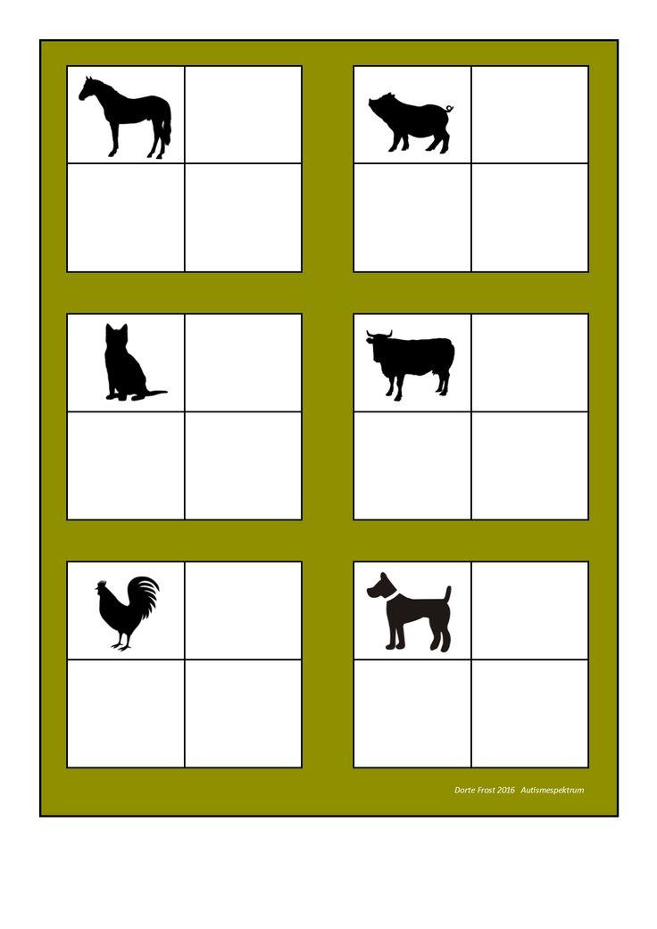 Board for the farm animal sorting game. Find the belonging tiles on Autismespektrum on Pinterest. By Autismespektrum.