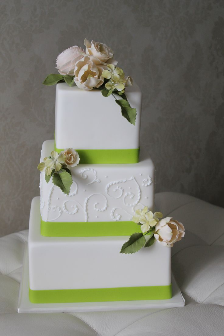 Romantic Square Wedding Cake with Sugar Flowers and Lime Green edible ribbons