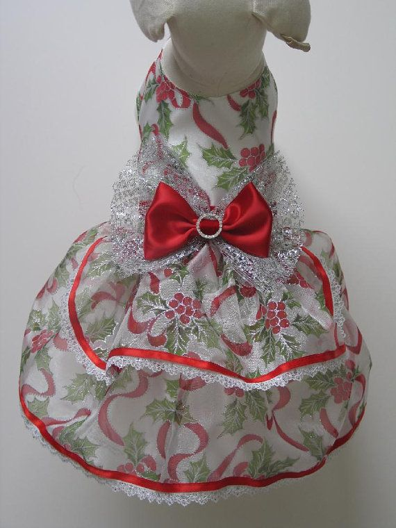 Holly Leaves Organza Dog Dress