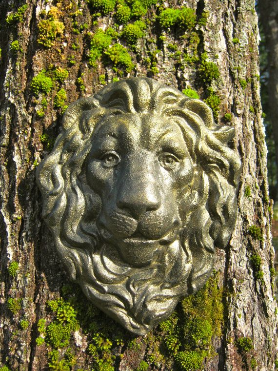 Good Lion Face Hanging Plaque Concrete Garden By WestWindHomeGarden