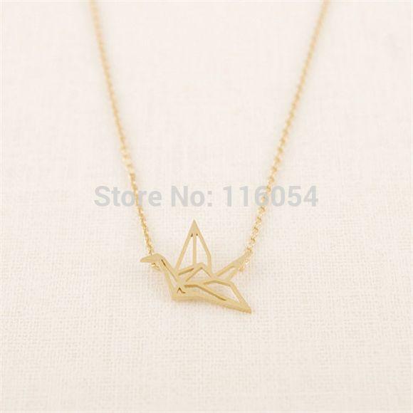 2015 посеребренная крошечные оригами кран ожерелье-бесплатная крошечный рейки желая птица Neclaces для женщин 2015 бижутерии роковой