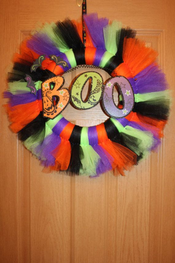 BOO Halloween Tulle Wreath on Etsy, $30.00