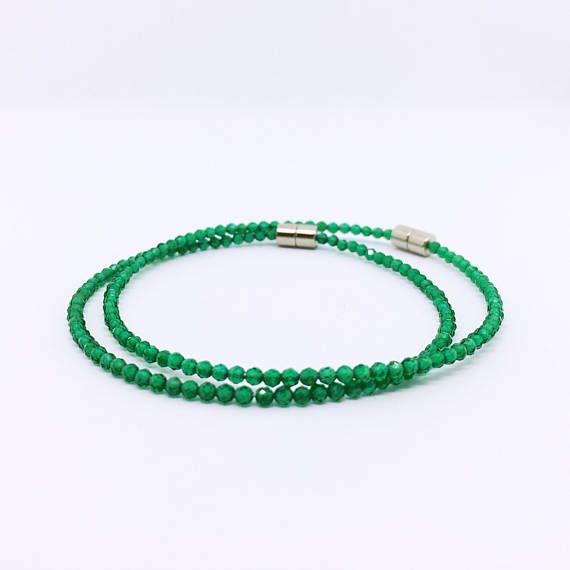 Green Onyx Bracelet Dainty Beaded Bracelet Minimalist