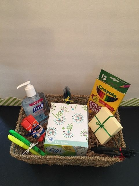 Do you know what teachers want? I do. It is the classroom supply basket that comes with color pencils, 3 pens, 3 pencils, 2 highlighters, a box of tissues, hand sanitizer, 2 post-it notes, and 3 glue