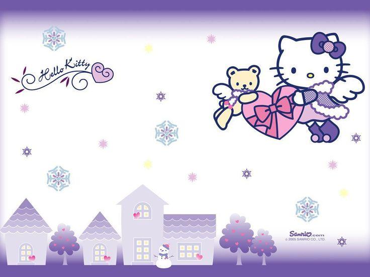 Hello Kitty Purple Wallpaper Desktop Background ~ BozhuWallpaper
