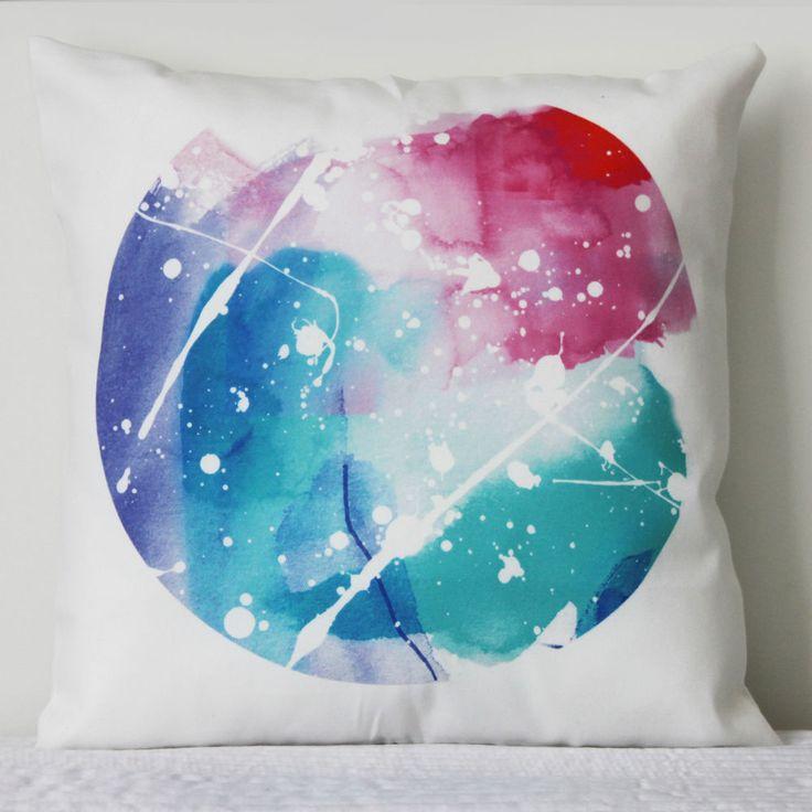 Splatter Paint Spot Throw Cushion Cover-decor,abstract,watercolour,pink,aqua $22.10