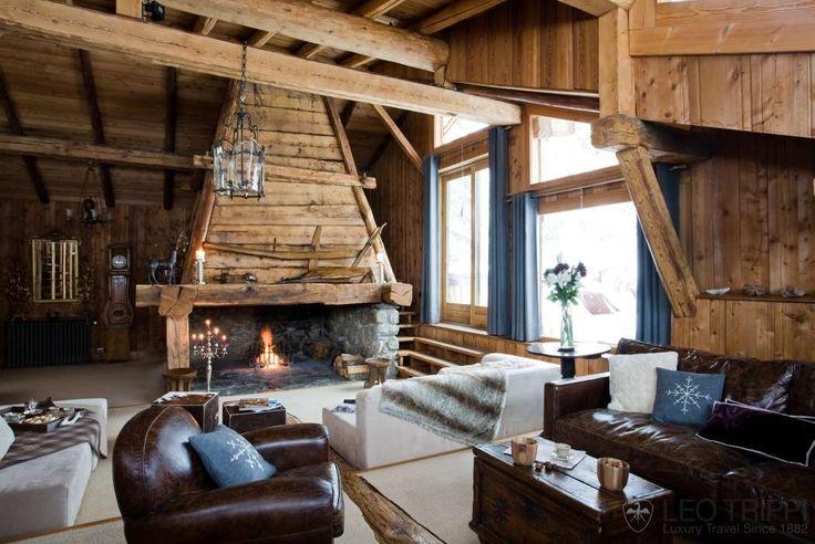 D coration d 39 interieur rustiques des chalets de montagne - Interieur chalet en bois ...