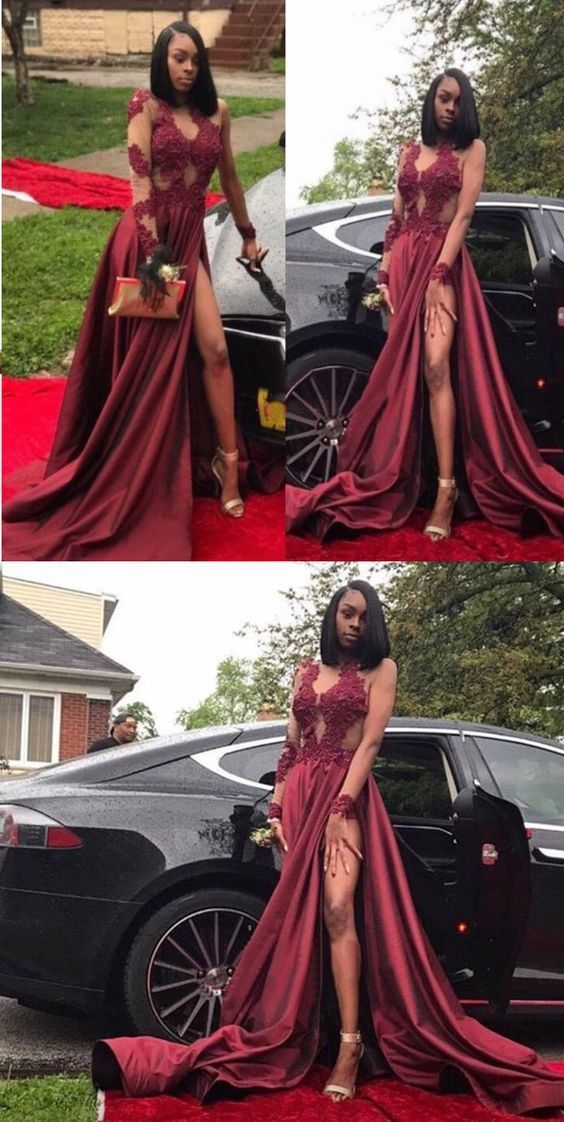 Chic Burgundy Prom Dress Lace Cheap Long Prom Dress Sexy Red