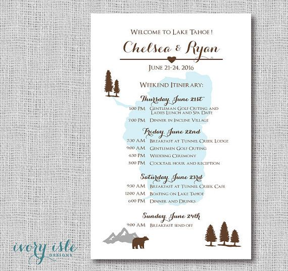 Lake Tahoe Wedding Itinerary Card, Mountain Weekend Event Itineraries, Destination Welcome Cards for Hotel Guests