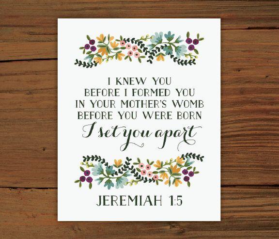 Jeremiah 1:5 Print by FrenchPressMornings on Etsy https://www.etsy.com/listing/161678013/jeremiah-15-print